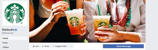 Captura de pantalla de la página de Facebook de Starbucks