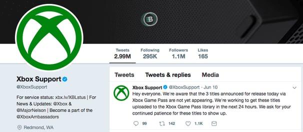 Captura de pantalla de la página de inicio de Twitter de Xbox