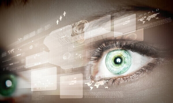 Eye viewing digital information represented b circles and signs