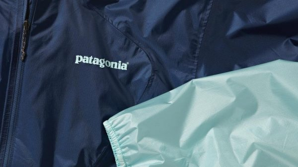 Photo of the Patagonia logo on a windbreaker.
