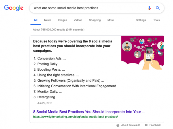 """Screenshot of SERP """"what are some social media best practices"""""""